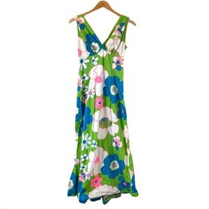 Vintage 60's Psychedelic Maxi Dress Hostess Trail